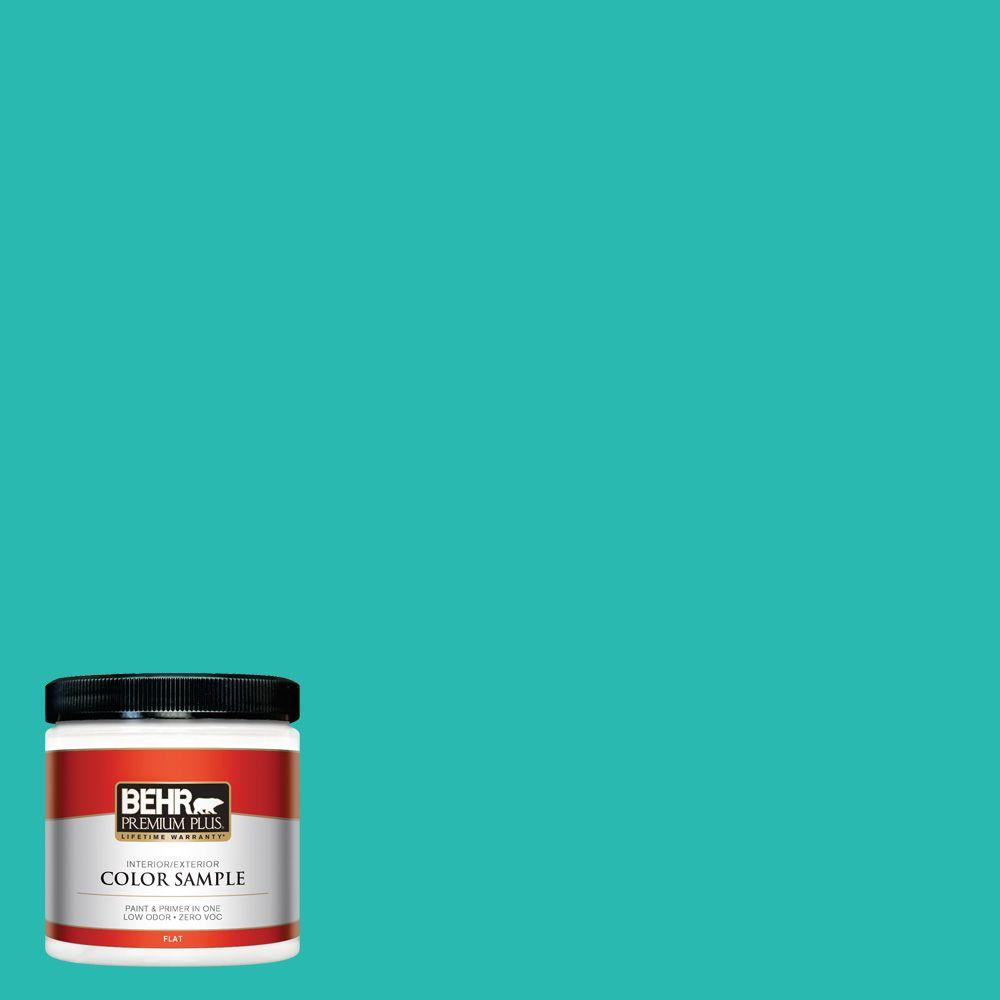 BEHR Premium Plus 8 oz. #P450-5 Island Aqua Interior/Exterior Paint Sample
