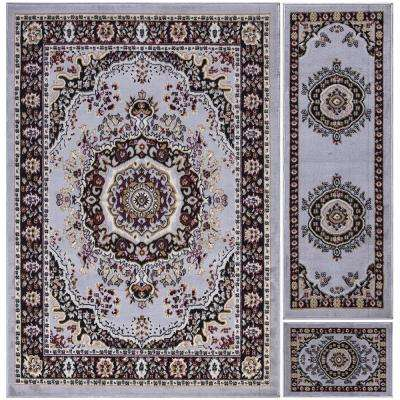 Paterson Collection Traditional Oriental Design Greyish Blue 5 ft. x 7 ft. 3-Piece Rug Set