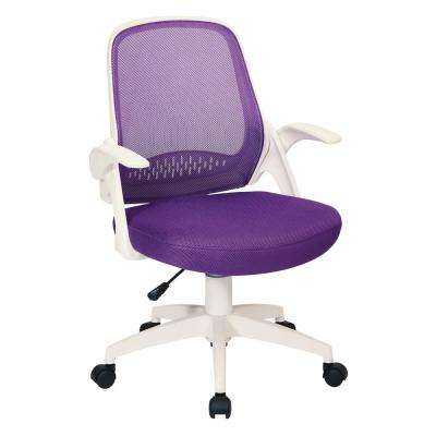 Jackson Purple Mesh and White Frame Office Chair with Flip Arms