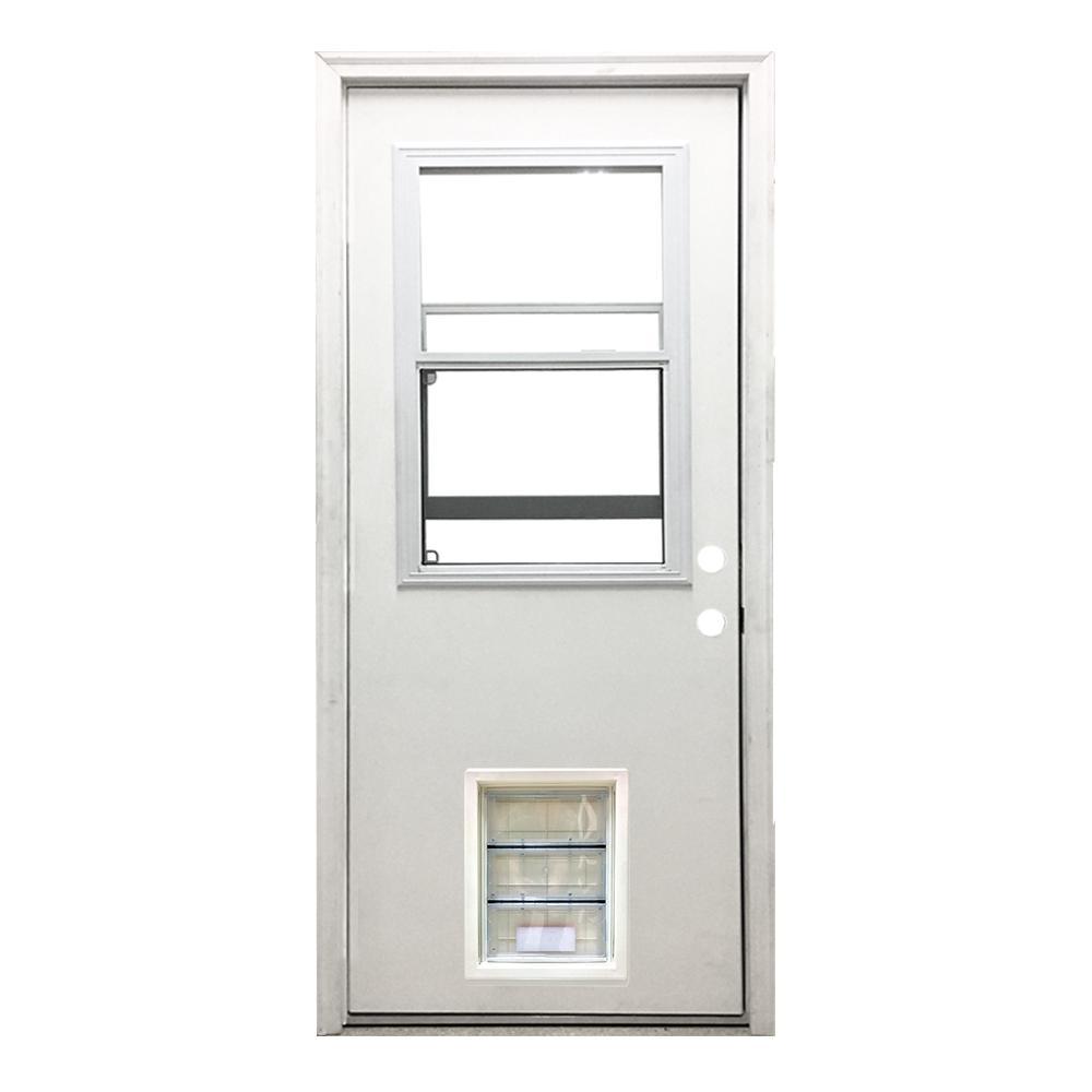 Classic Vented Half Lite LHIS White Primed Textured Fiberglass Prehung Front Door With XL Pet
