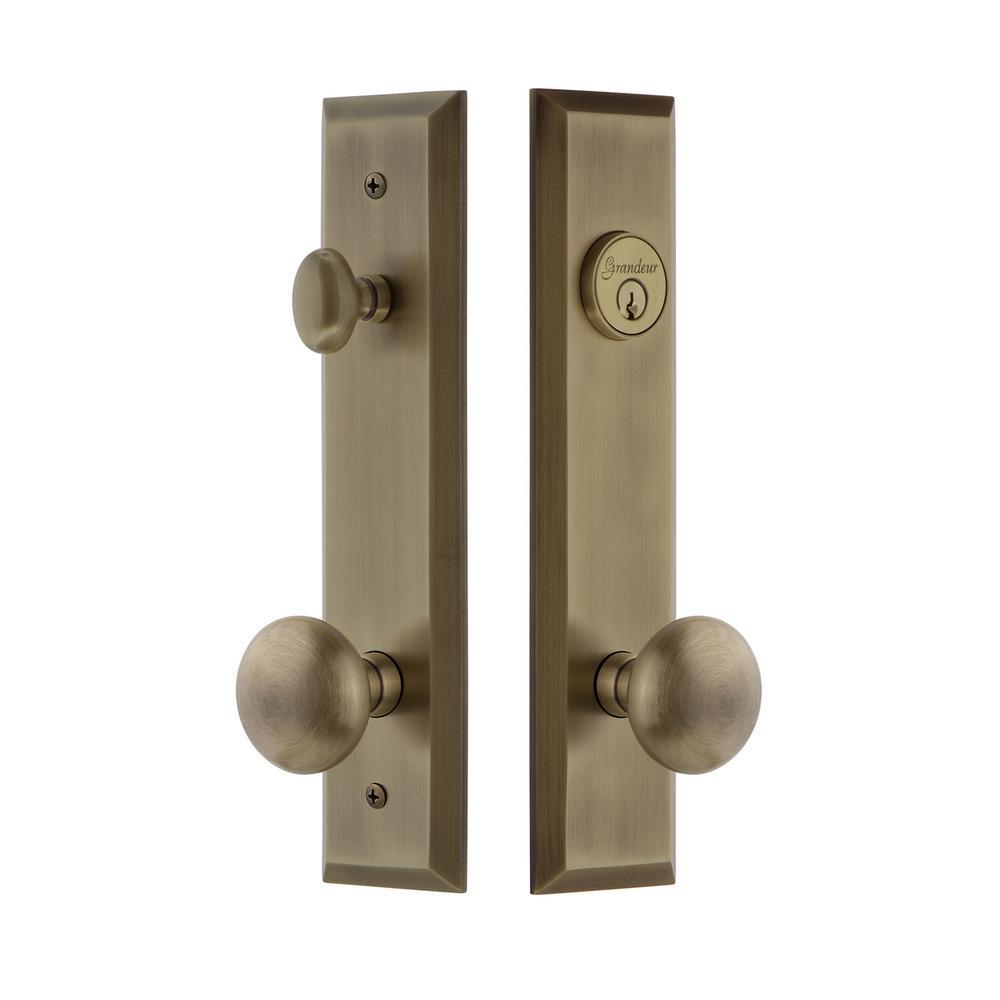 Fifth Avenue Tall Plate 2-3/4 in. Backset Vintage Brass Door Handleset with Fifth Avenue Door Knob