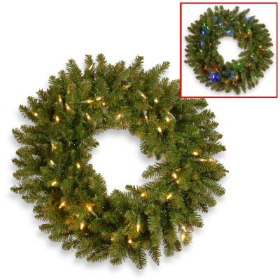 """30"""" Kingswood(R) Fir Wreath with Battery Operated Dual Color® LED Lights"""