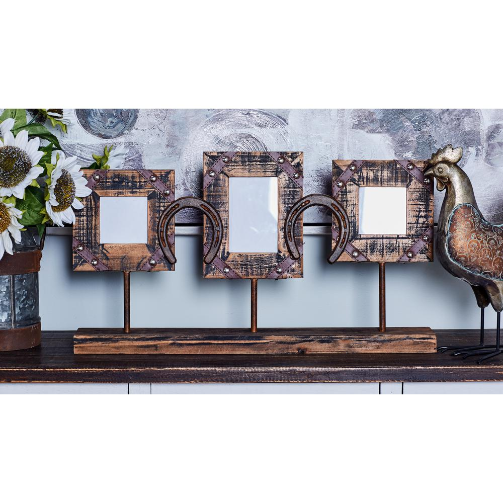 15 in. x 27 in. Stained Brown Standing Picture Frame with Horseshoe ...