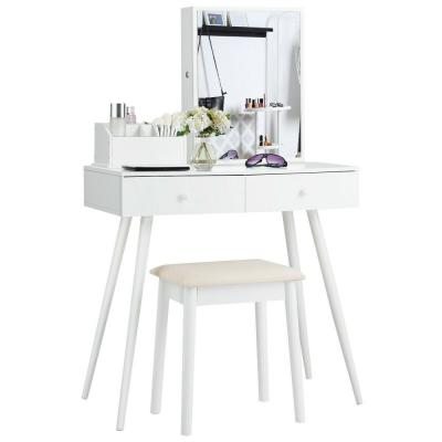 2-Drawer Vanity Table Set with Mirror Dressing Table Set with Lockable Jewelry Armoire Cabinet