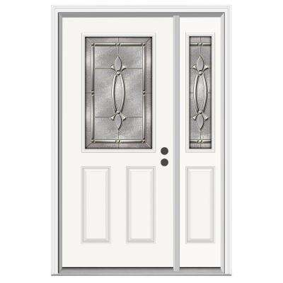 50 in. x 80 in. 1/2 Lite Blakely Primed Steel Prehung Left-Hand Inswing Front Door with Right-Hand Sidelite