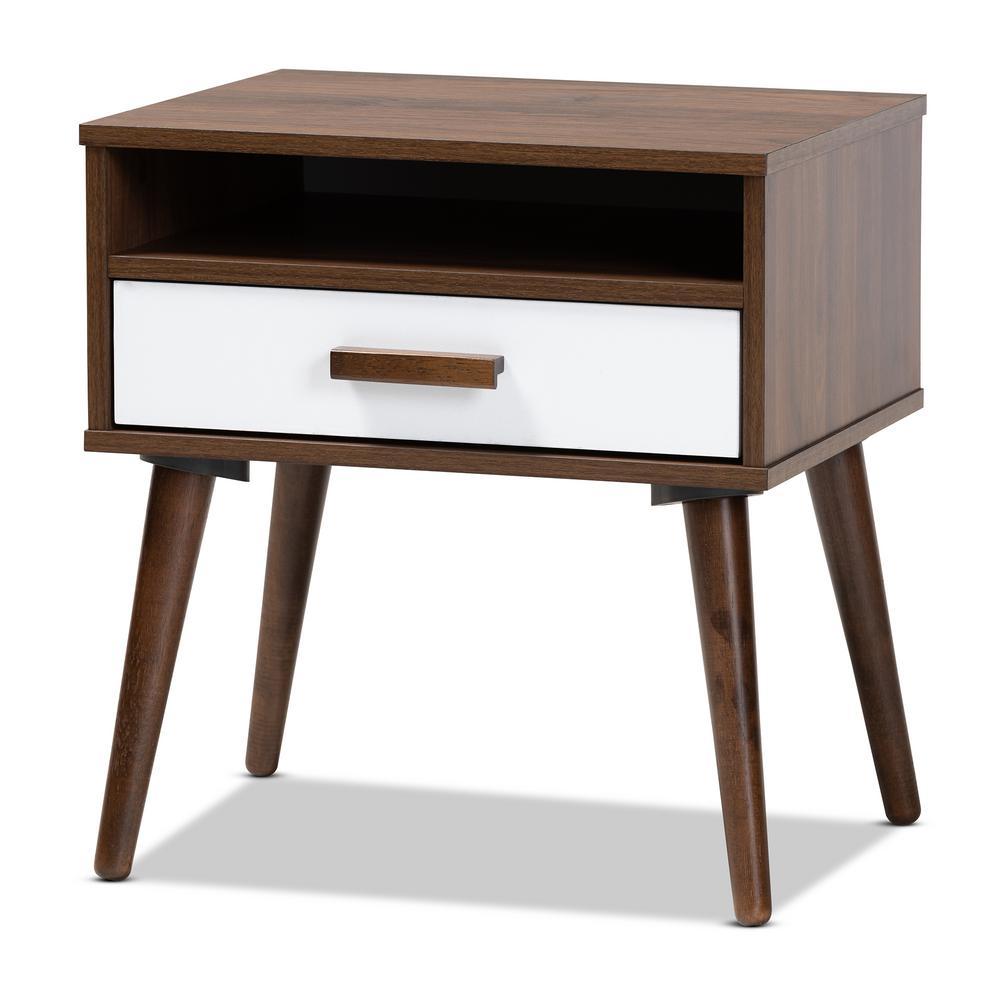 Baxton Studio Quinn Walnut Three Shelves End Table 159 9852 Hd The Home Depot