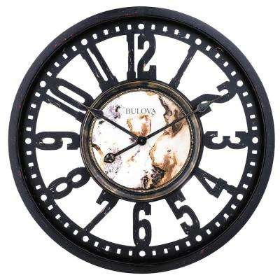 24 in. H x 24 in. W Aged Black Metal Case Round Wall Clock