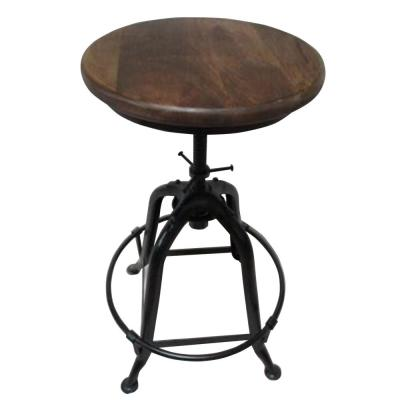 Brown Bar Stool with Adjustable Height