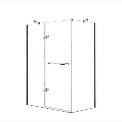 Reveal 29-7/8 in. x 60 in. x 71-1/2 in. Frameless Corner Pivot Shower Enclosure in Brushed Nickel