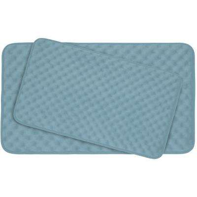 Massage Light Blue 20 in. x 32 in. Memory Foam 2-Piece Bath Mat Set