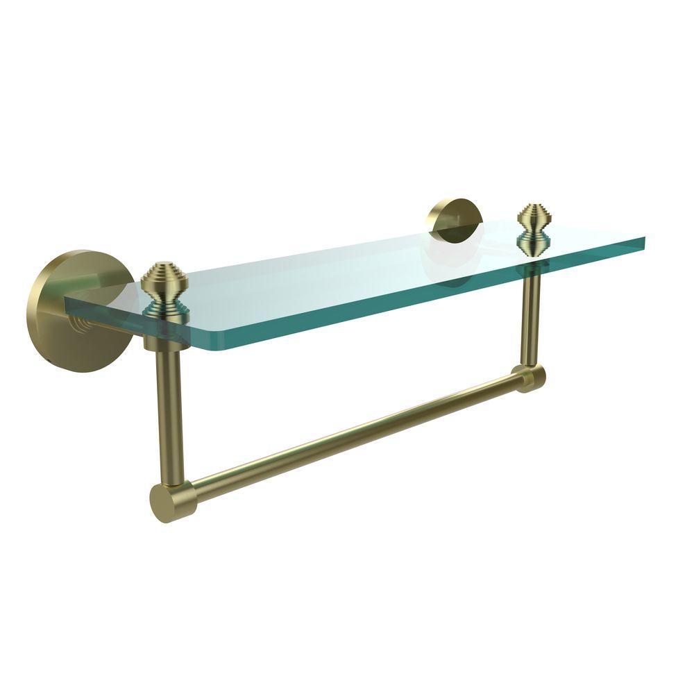 Southbeach 16 in. L  x 5 in. H  x 5 in. W Clear Glass Vanity Bathroom Shelf with  Towel Bar in Satin Brass