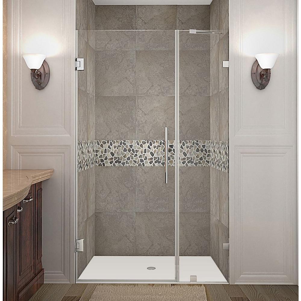 Nautis 39 in. x 72 in. Frameless Hinged Shower Door in