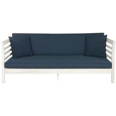 Malibu Antique White Wood Outdoor Day Bed with Navy Cushions