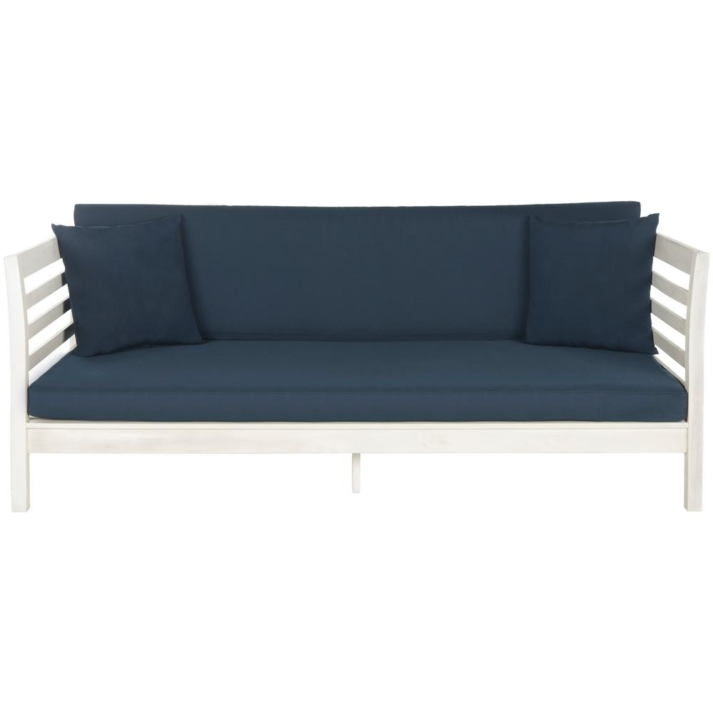 Safavieh Malibu Antique White Wood Outdoor Day Bed with Navy Cushions