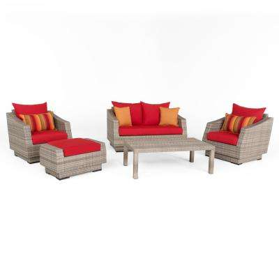 Cannes 5-Piece Aluminum All-Weather Wicker Patio Love and Club Seating Set with Sunset Red Cushions