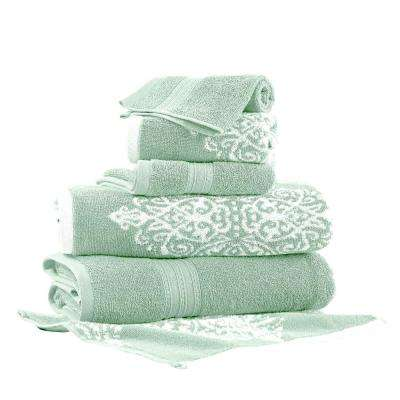 Artesia Damask 6-Piece Cotton Bath Towel Set in Sage