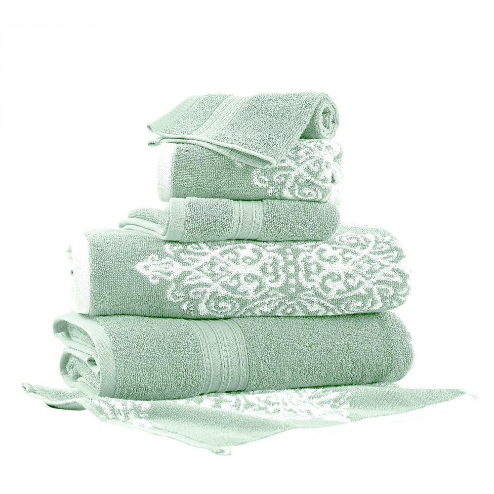Allure Artesia Damask 6-Piece Cotton Bath Towel Set in Sage 5JQYDTLG-ARS-ST