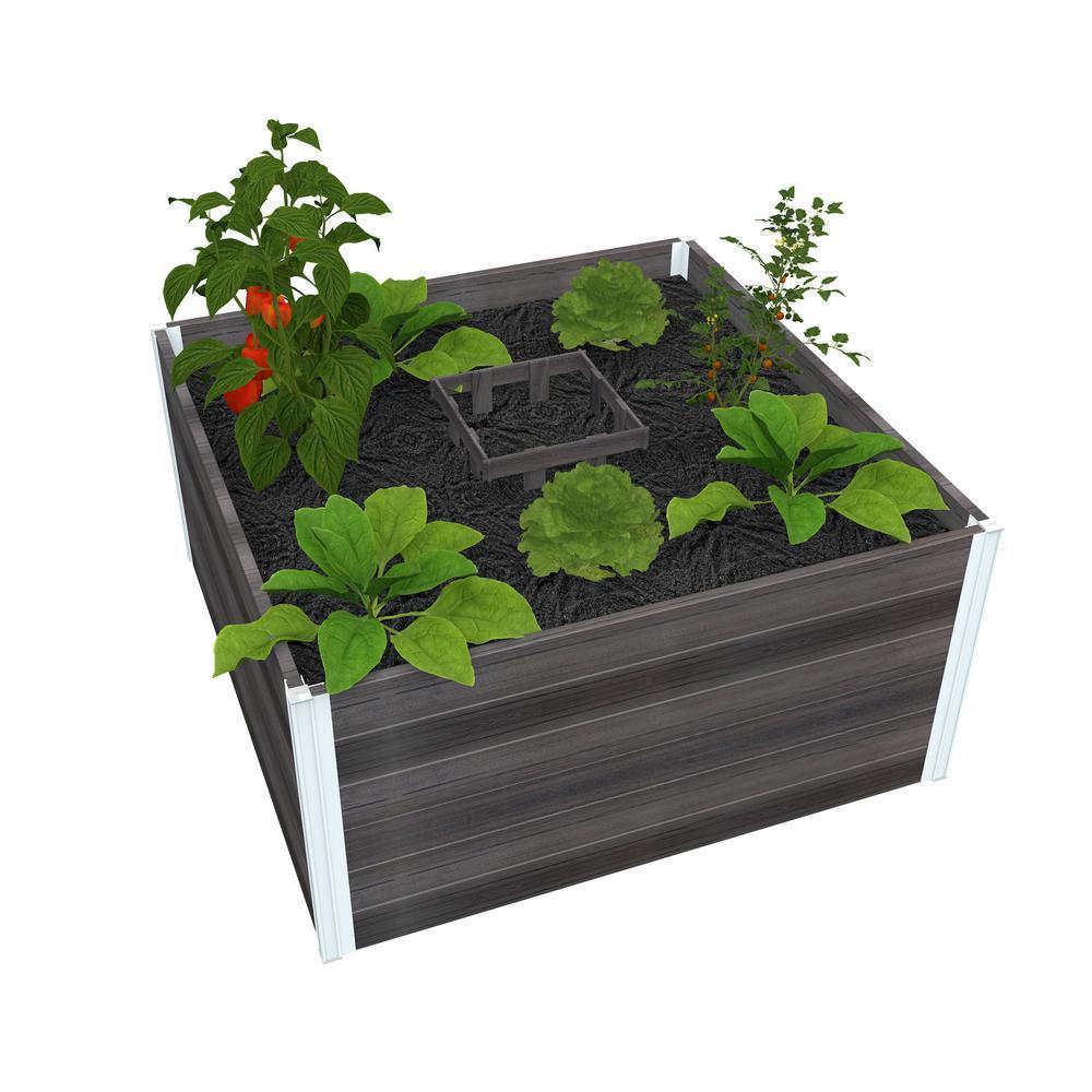 Urbana 48 in. x 48 in. x 22 in. Slate Grey Vinyl Raised Composting Garden