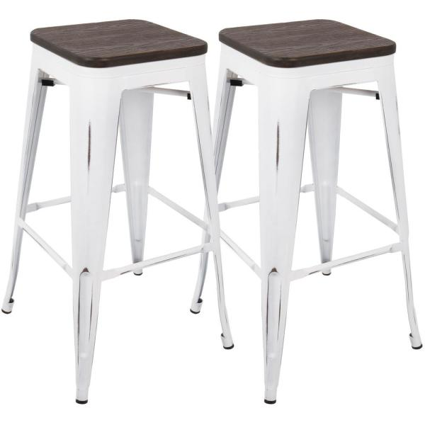 Oregon 30 in. Vintage White and Espresso Barstool (Set of 2)