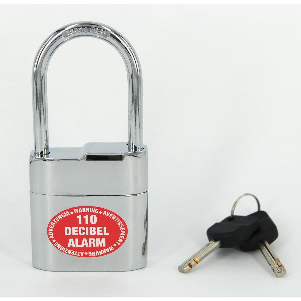 Decibel Padlock with Alarm 3/8 in. T Hardened Steel Shackle 110 Decibel Alarm All-Weather Portable Security