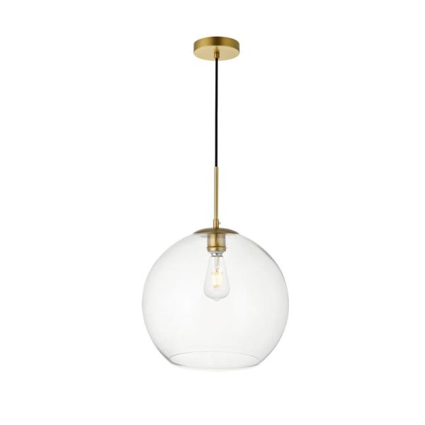 Timeless Home Blake 1-Light Brass Pendant with Clear Glass Shade