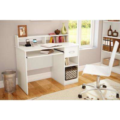 Axess Pure White Computer Desk and Printer Stand