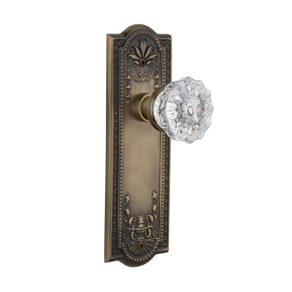 Meadows Plate 2-3/8 in. Backset Antique Brass Passage Hall/Closet Crystal Glass