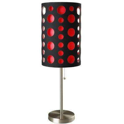 33 in. Black and Red Stainless Steel High Modern Retro Table Lamp