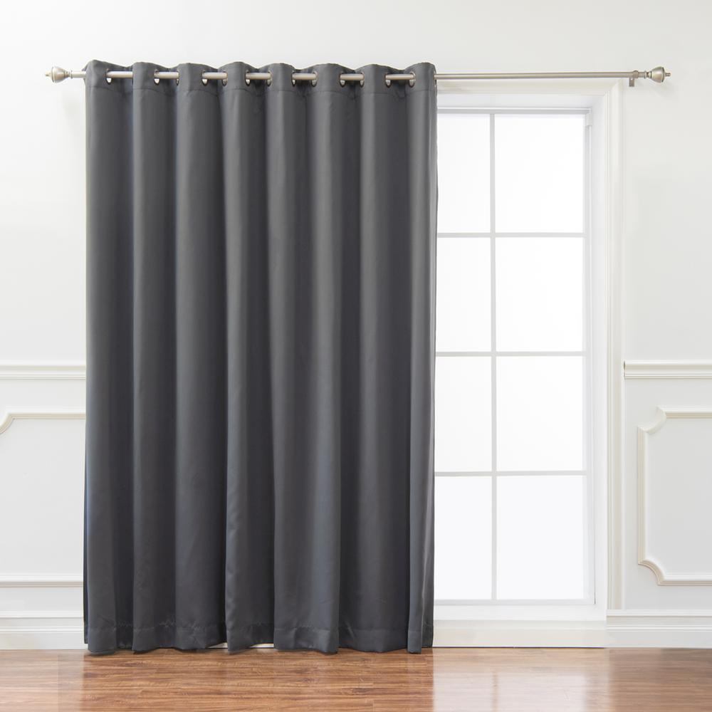 best home fashion wide basic 100 in w x 84 in l blackout curtain in dark grey grom wide 100x84. Black Bedroom Furniture Sets. Home Design Ideas