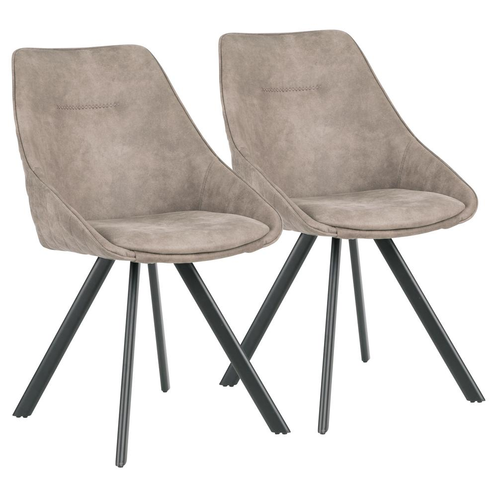 Marche Stone Grey Upholstery and Black Chair (Set of 2)