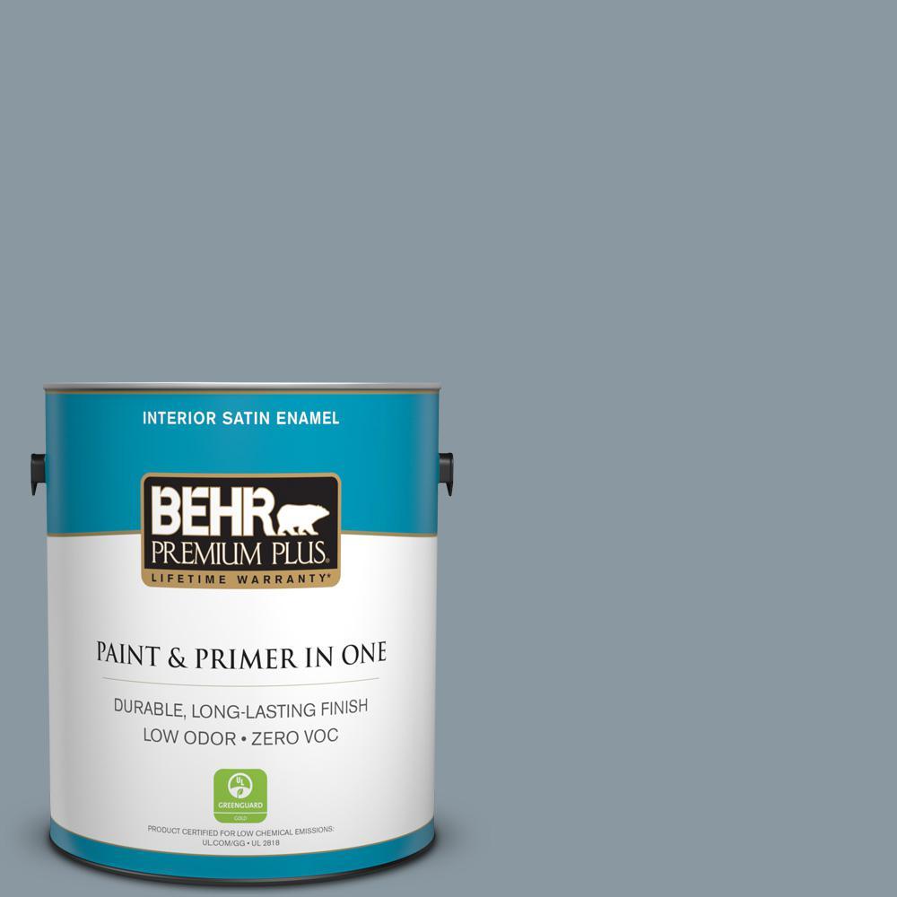 1-gal. #N490-4 Teton Blue Satin Enamel Interior Paint