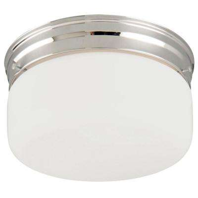 2-Light Chrome Ceiling Mount Fixture with White Opal Glass