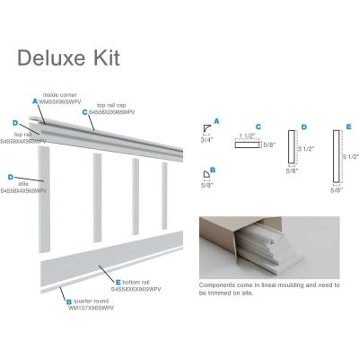 "5/8 in. X 96 in. X 32 in. Expanded Cellular PVC Deluxe Shaker Wainscoting Moulding Kit (for heights up to 32""H)"