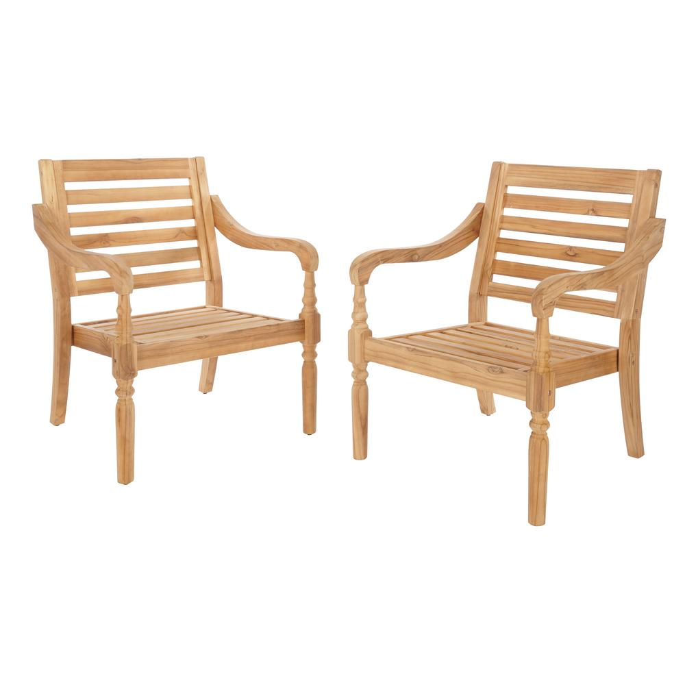 Hampton Bay Old Town Teak Patio Dining Chair 2 Pack