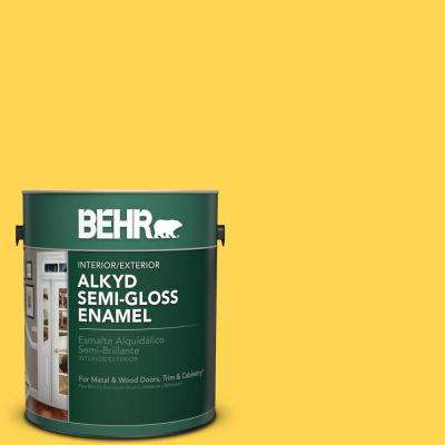 1 gal. #P300-6 Buzz-in Semi-Gloss Enamel Alkyd Interior/Exterior Paint