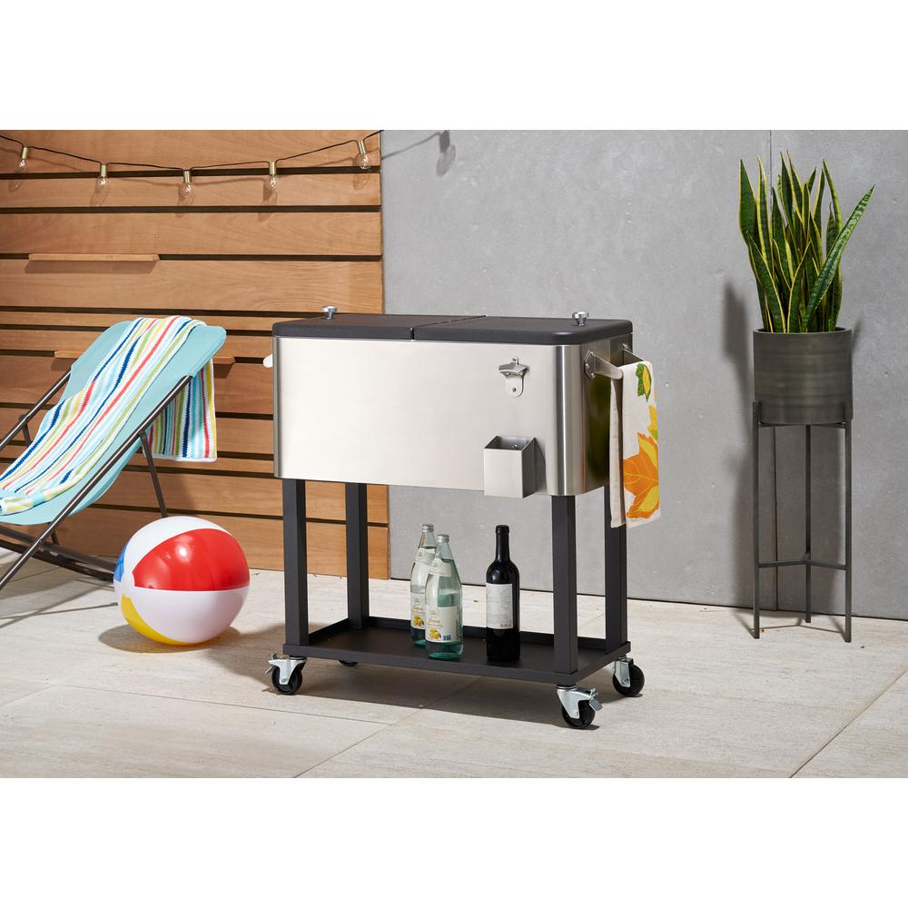 Stainless Steel Standing Wheeled Cooler With Shelf