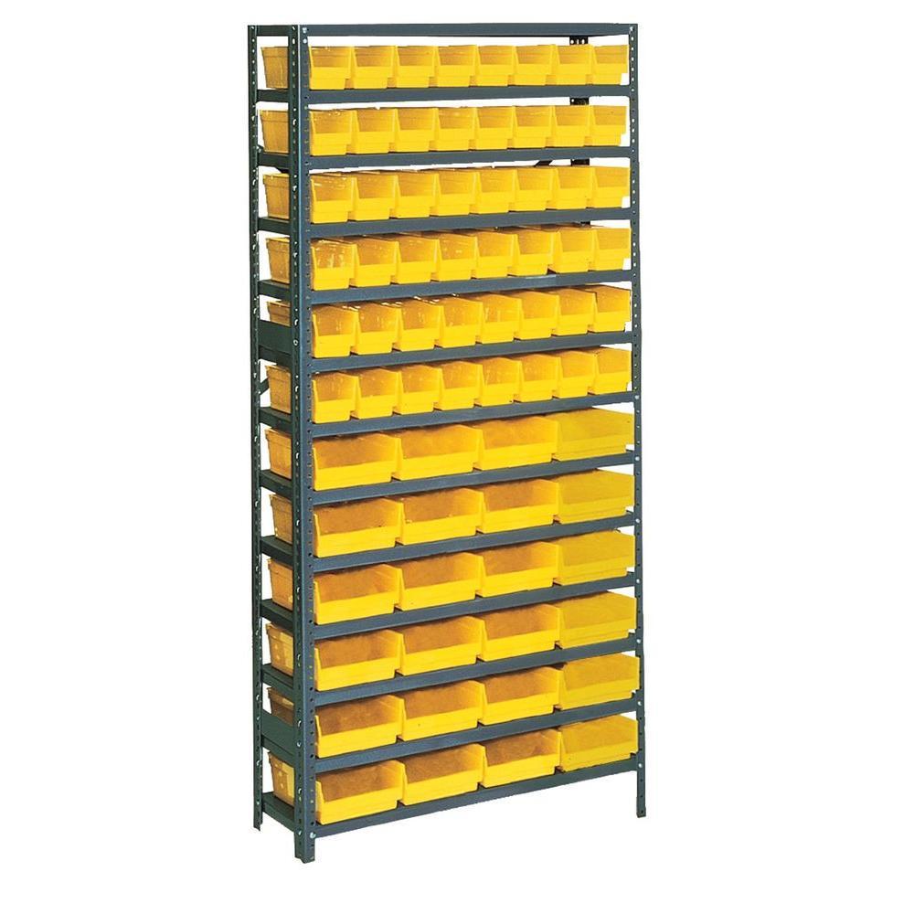Edsal 75 in. H x 36 in. W x 12 in. D Plastic Bin/Small Parts Steel Gray Storage Rack with 72 Yellow Bins