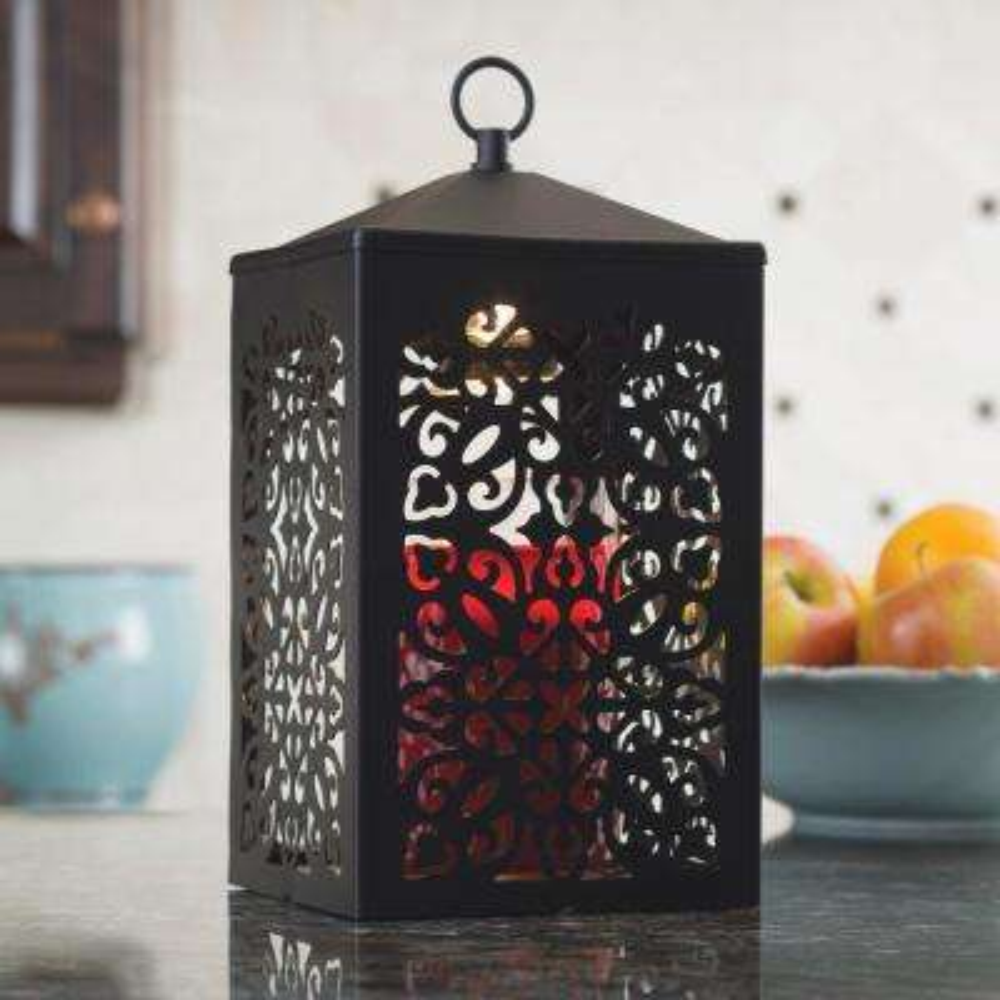 12.3 in. Black Scroll Candle Warmer Lantern