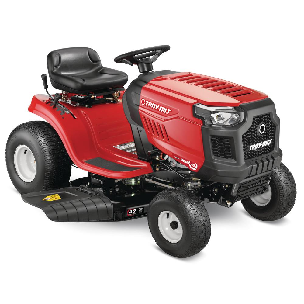 Troy-Bilt Pony 42 in. 439 cc Auto-Choke Engine 7-Speed Manual Drive Gas Riding Lawn Tractor with Mow-in-Reverse (CA Compliant)