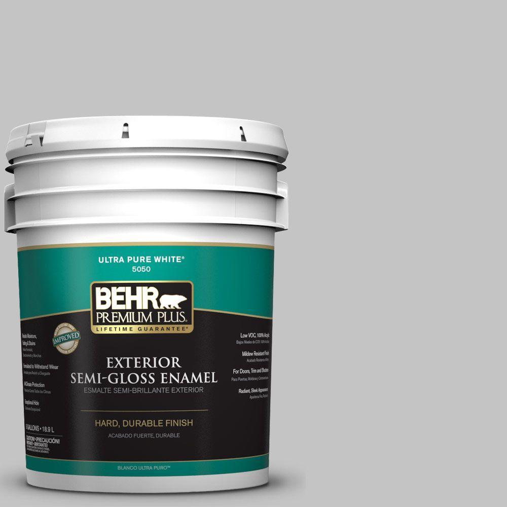 BEHR Premium Plus 5-gal. #N520-2 Silver Bullet Semi-Gloss Enamel Exterior Paint