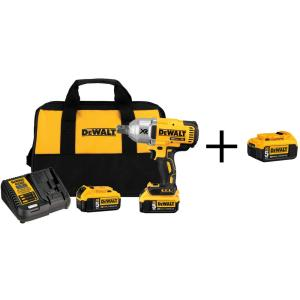 Dewalt 20-Volt MAX XR Lithium-Ion Cordless Brushless High Torque 3/4 inch Impact Wrench w/ Batteries 5Ah and Bonus... by DEWALT