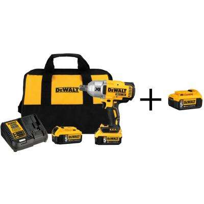20-Volt MAX XR Lithium-Ion Cordless Brushless High Torque 3/4 in. Impact Wrench w/ Batteries 5Ah and Bonus Battery 5Ah