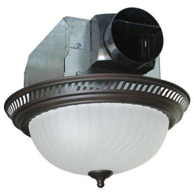 Decorative Bronze 70 CFM Ceiling Bath Fan with Light and Swirled Frosted Glass
