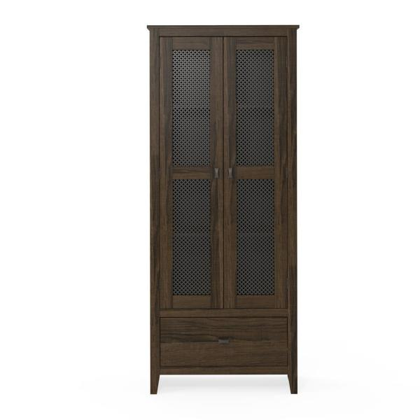 System Build Luca 30 in. Brown Oak Wide Storage Cabinet with Mesh Doors