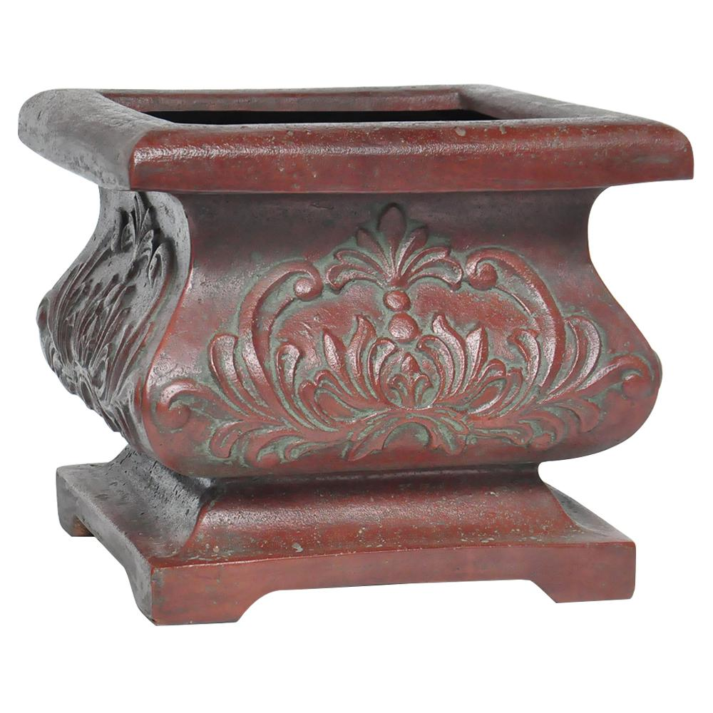 18 in. sq. Cast Stone Bombe Planter in Patina Green