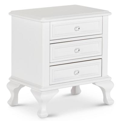 Jenna 3-Drawer White Nightstand