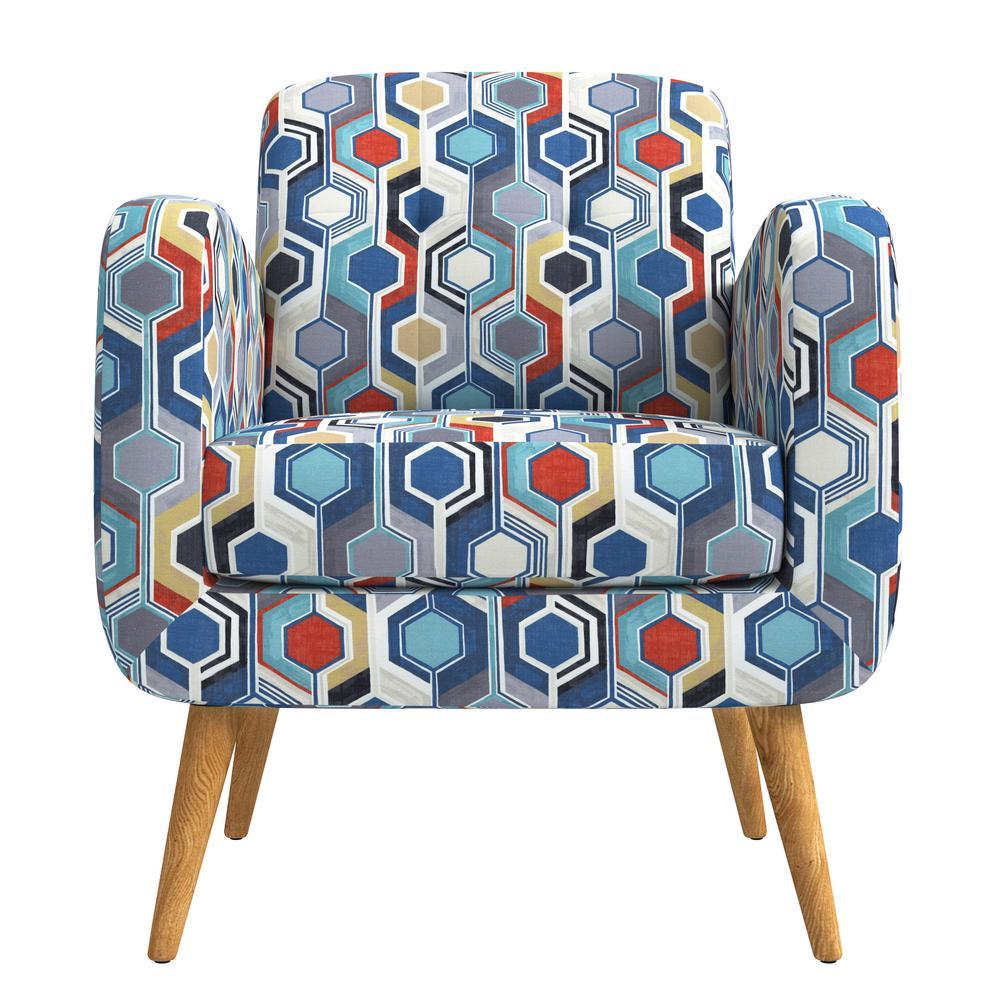 Kingston Blue Multi Beehive Print Mid Century Modern Arm Chair