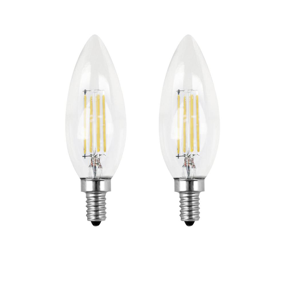 Feit Electric 40-Watt Equivalent B10 Candelabra Dimmable Filament CEC Clear Glass Chandelier LED Light Bulb, Soft White (2-Pack)