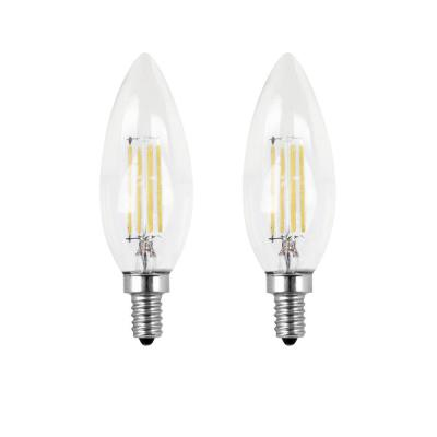40-Watt Equivalent B10 Candelabra Dimmable Filament CEC Clear Glass Chandelier LED Light Bulb, Soft White (2-Pack)