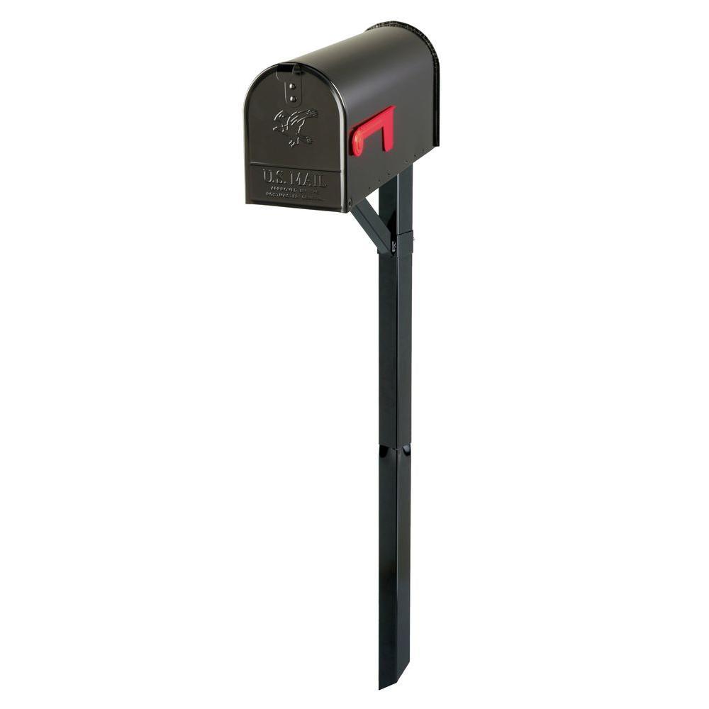 Edmond Elite Black Steel Mailbox and Black Steel Drive-In Post Combo